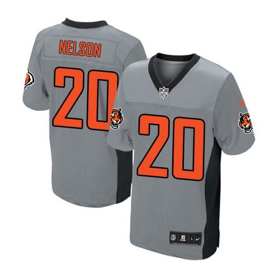 Cincinnati Bengals Reggie Nelson Official Nike Grey Shadow Elite Adult NFL Jersey