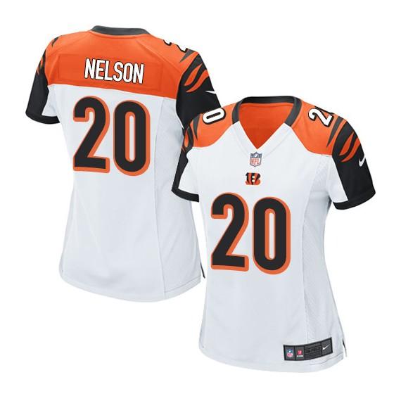 Cincinnati Bengals Reggie Nelson Official Nike White Game Women's Road NFL Jersey