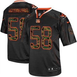 Cincinnati Bengals Rey Maualuga Official Nike Black Elite Adult Camo Fashion NFL Jersey