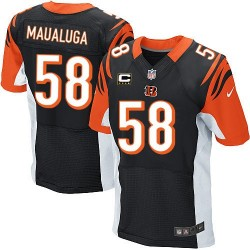 Cincinnati Bengals Rey Maualuga Official Nike Black Elite Adult Home C Patch NFL Jersey