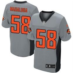 Cincinnati Bengals Rey Maualuga Official Nike Grey Shadow Elite Adult NFL Jersey