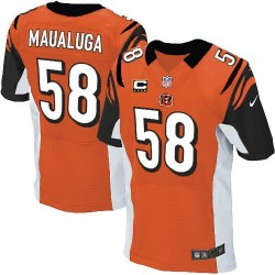 Cincinnati Bengals Rey Maualuga Official Nike Orange Elite Adult Alternate C Patch NFL Jersey
