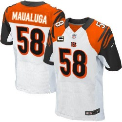 Cincinnati Bengals Rey Maualuga Official Nike White Elite Adult Road C Patch NFL Jersey