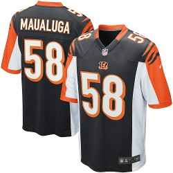 Cincinnati Bengals Rey Maualuga Official Nike Black Game Adult Home NFL Jersey