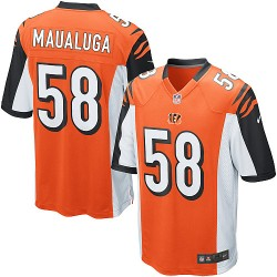 Cincinnati Bengals Rey Maualuga Official Nike Orange Game Adult Alternate NFL Jersey
