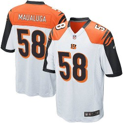 Cincinnati Bengals Rey Maualuga Official Nike White Game Adult Road NFL Jersey
