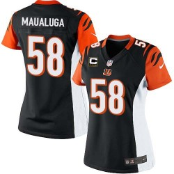 Cincinnati Bengals Rey Maualuga Official Nike Black Elite Women's Home C Patch NFL Jersey