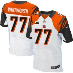 Cincinnati Bengals Andrew Whitworth Official Nike White Elite Adult Road C Patch NFL Jersey