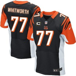 Cincinnati Bengals Andrew Whitworth Official Nike Black Elite Adult Home C Patch NFL Jersey