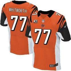Cincinnati Bengals Andrew Whitworth Official Nike Orange Elite Adult Alternate C Patch NFL Jersey