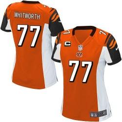 Cincinnati Bengals Andrew Whitworth Official Nike Orange Elite Women's Alternate C Patch NFL Jersey