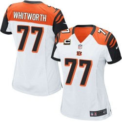 Cincinnati Bengals Andrew Whitworth Official Nike White Elite Women's Road C Patch NFL Jersey