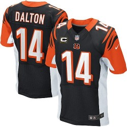 Cincinnati Bengals Andy Dalton Official Nike Black Elite Adult Home C Patch NFL Jersey