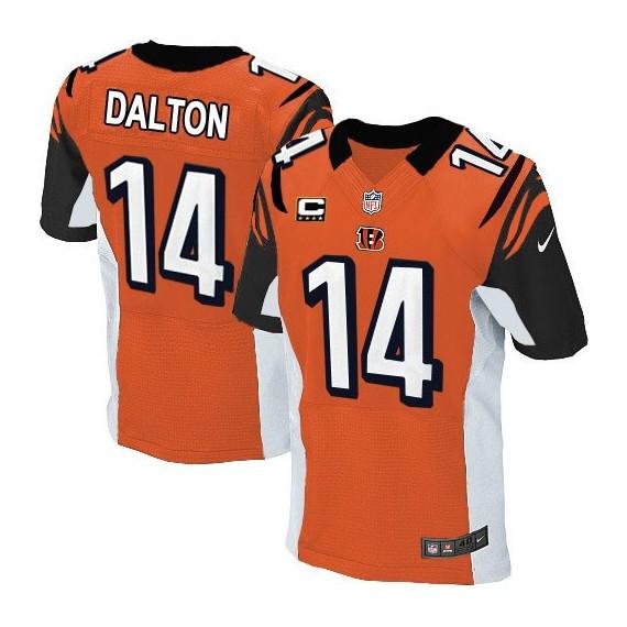 Cincinnati Bengals Andy Dalton Official Nike Orange Elite Adult Alternate C Patch NFL Jersey