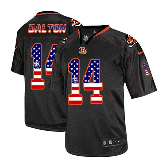 Cincinnati Bengals Andy Dalton Official Nike Black Elite Adult USA Flag Fashion NFL Jersey