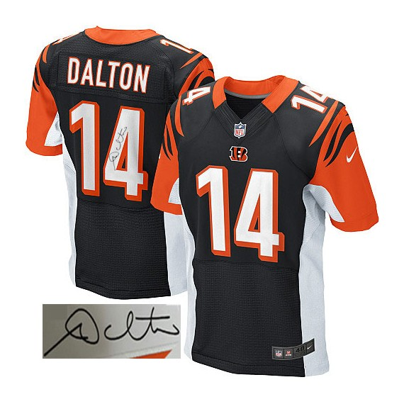 Cincinnati Bengals Andy Dalton Official Nike Black Elite Adult Autographed Home NFL Jersey