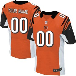 Nike Cincinnati Bengals Men's Customized Elite Orange Alternate Jersey