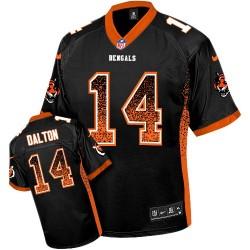 Cincinnati Bengals Andy Dalton Official Nike Black Elite Adult Drift Fashion NFL Jersey