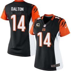 Cincinnati Bengals Andy Dalton Official Nike Black Elite Women's Home C Patch NFL Jersey
