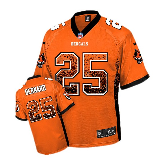 Cincinnati Bengals Giovani Bernard Official Nike Orange Elite Adult Drift Fashion NFL Jersey