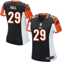 Cincinnati Bengals Leon Hall Official Nike Black Game Women's Home NFL Jersey