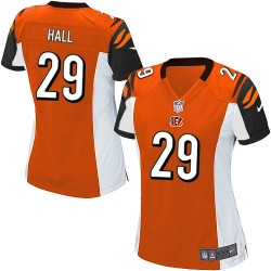 Cincinnati Bengals Leon Hall Official Nike Orange Game Women's Alternate NFL Jersey
